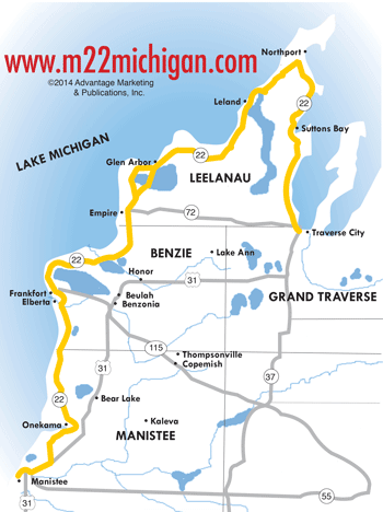 M-22 Northwest Michigan Map