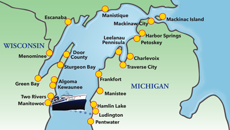 Michigan Map With Cities And Lakes.Lake Michigan Destinations Lake Michigan Travel Destinations