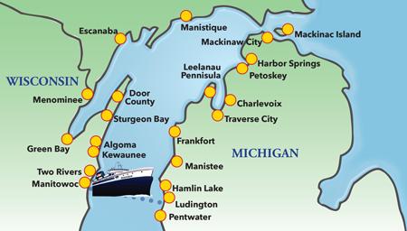 Lake Michigan Destinations Lake Michigan Travel Destinations - Michigan coastline map