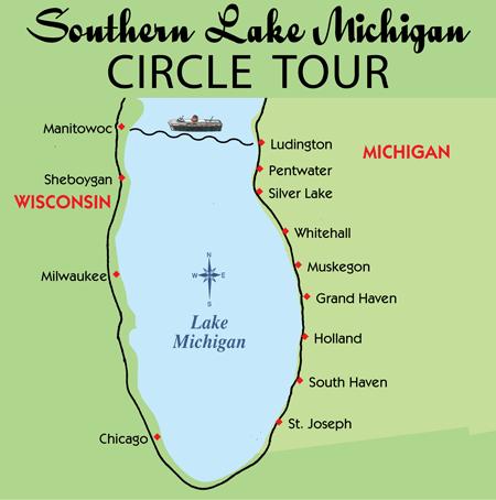 Drive Around Lake Michigan Map - Lake michigan circle tour map