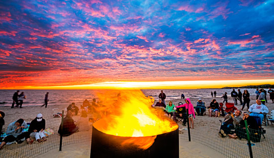 beach bonfires ludington michigan