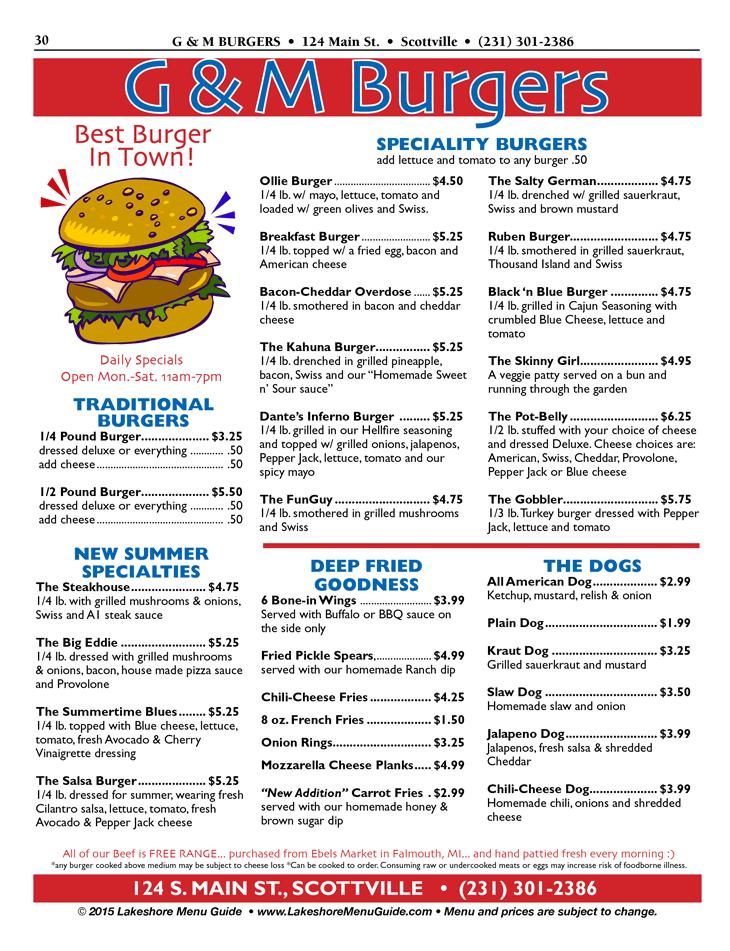 Visit Scottville Menu For G M Burgers In Scottville