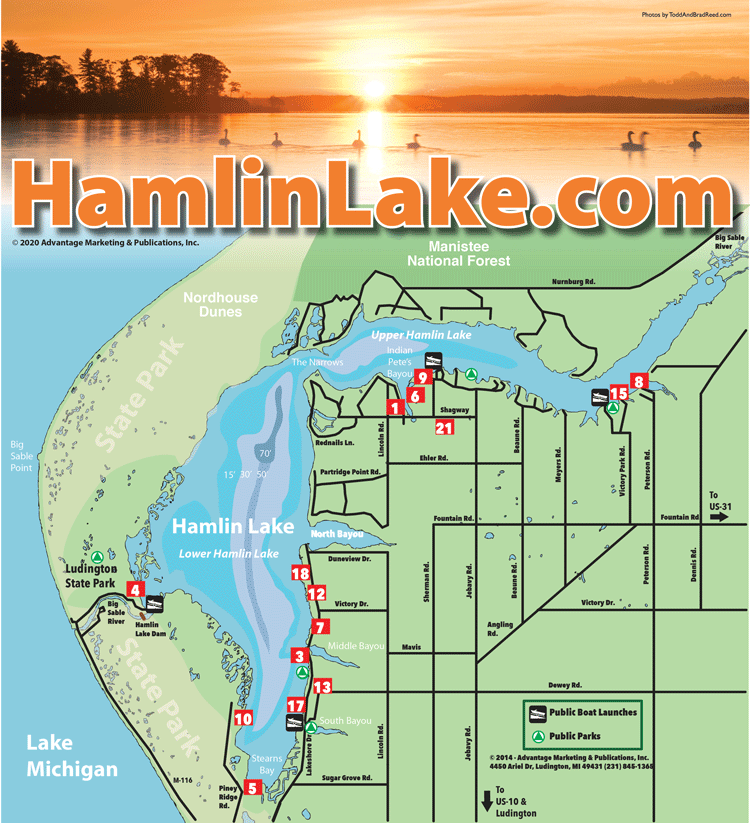 Hamlin Lake Hamlin Lake Business Directory Locator Map Ludington - Michigan lake maps