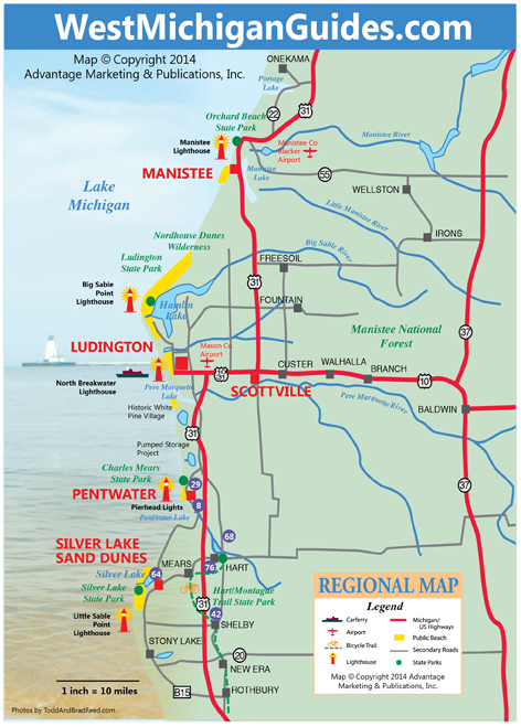 Visit Ludington   West Michigan Map Lakeshore Region Ludington