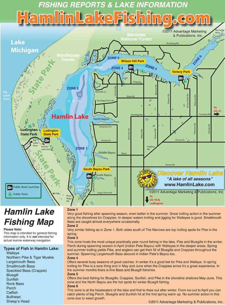 Hamlin Lake Fishing Map