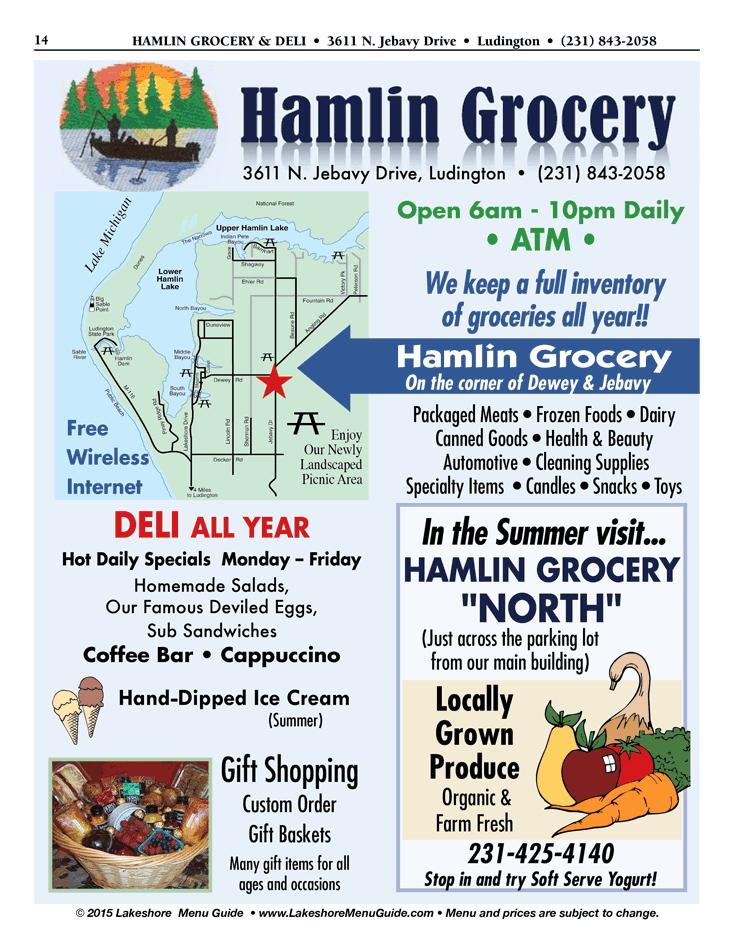 Manistee Riverwalk Menu For Hamlin Grocery Deli Hamlin Lake Ludington
