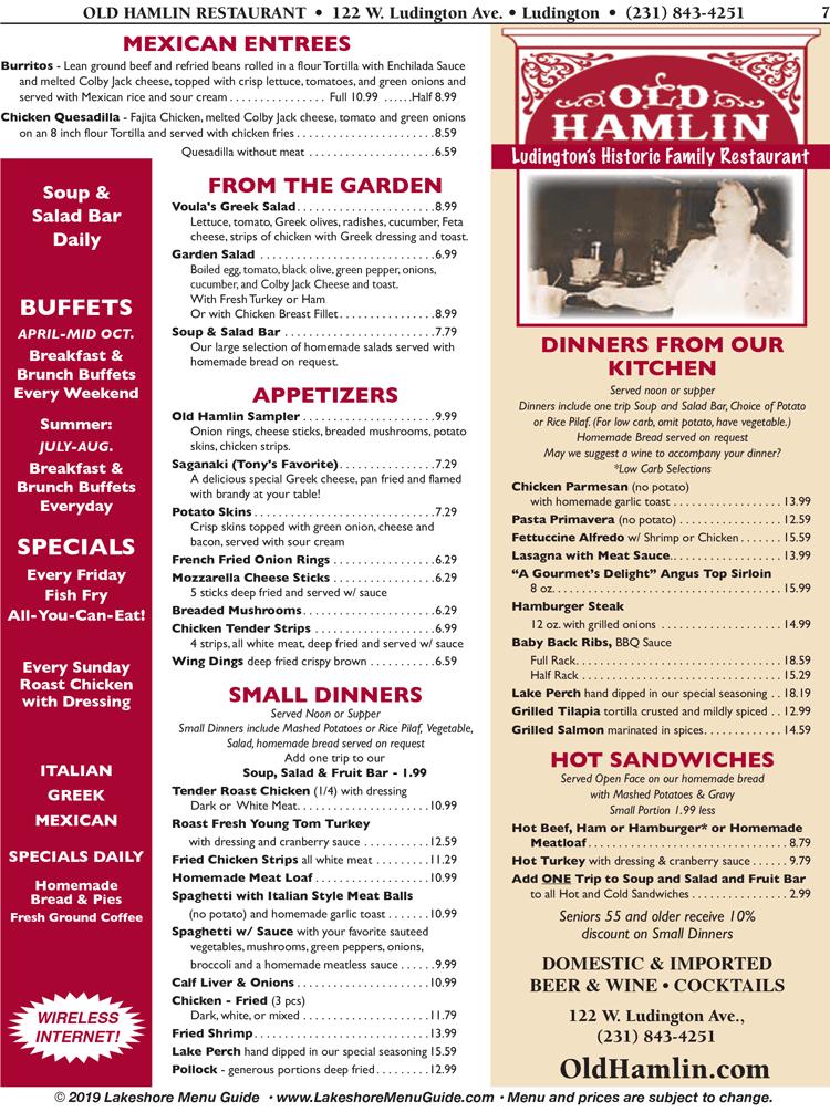 Visit Scottville Menu For Old Hamlin Restaurant In Downtown Ludington